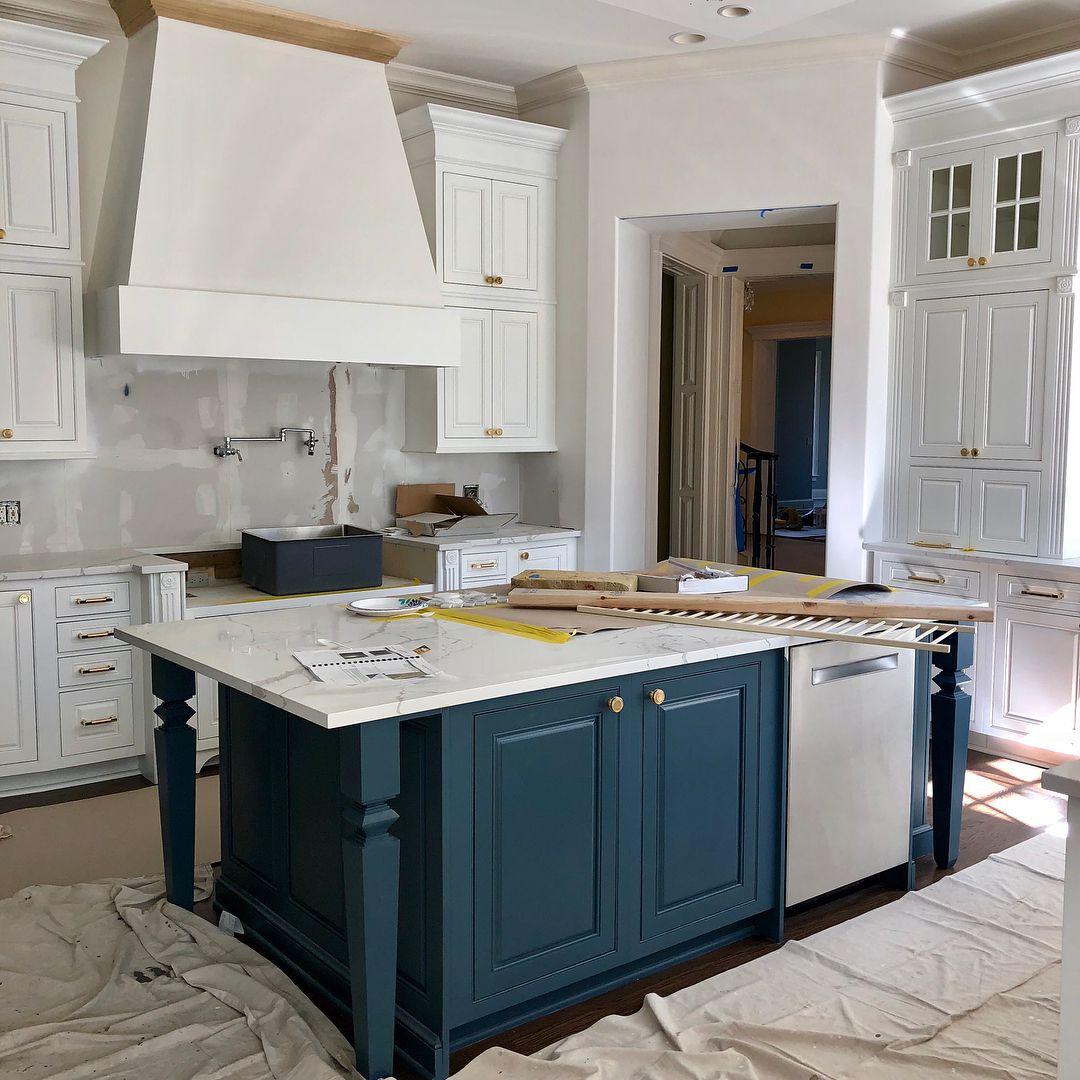 Island color BM Vermont Slate. | Farmhouse style kitchen ...