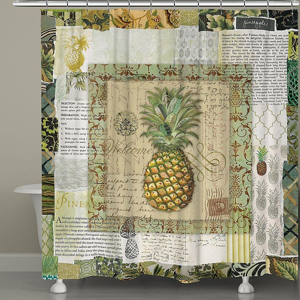 Laural Home Pineapple Scrapbook Shower Curtain Multi Pineapple