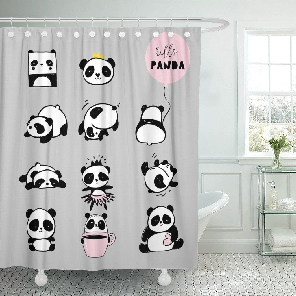 Pink Cute Panda Bear Collection Of Black And White Shower Curtain