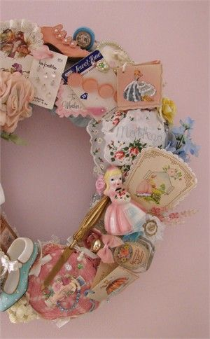 Heirloom wreath.  Great way to display all of those little things you don't want to toss in a trunk or toss out.