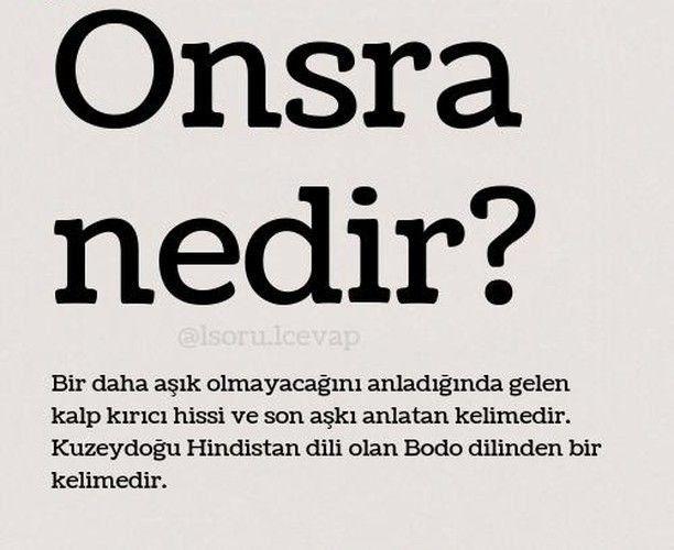 Onsra Nedir Guzel Sozler Cool Words Unusual Words Rare Words