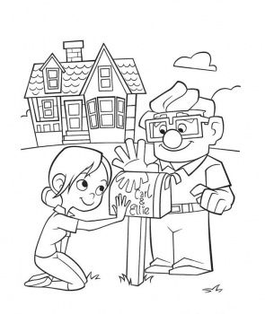 Carl And Ellie Mailbox Coloring Page Cartoon Coloring Pages