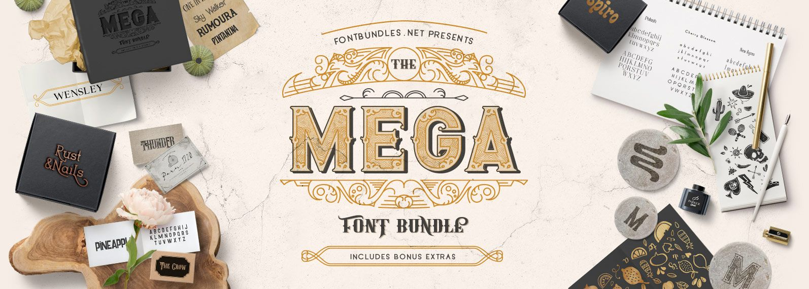 The Mega Font Bundle Cover Font bundles, Graphic design