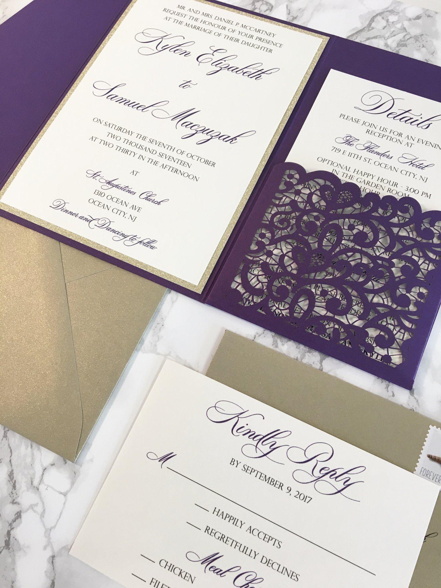 Glitter Invitations Elegant Custom Wedding Pocket: Plum Pocket Wedding Invitation At Websimilar.org