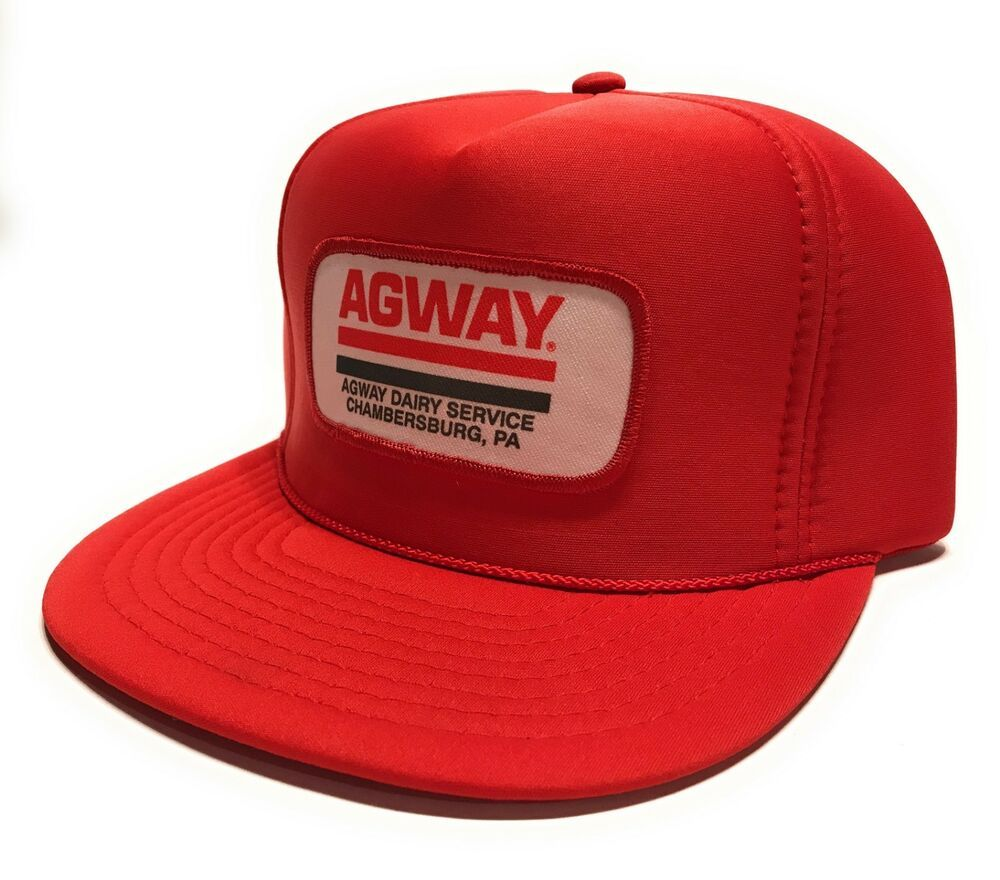 Vintage 80s Agway Dairy Service Patch Red Nissin Trucker Hat Snapback Never Worn #Nissin #TruckerHat #Casual