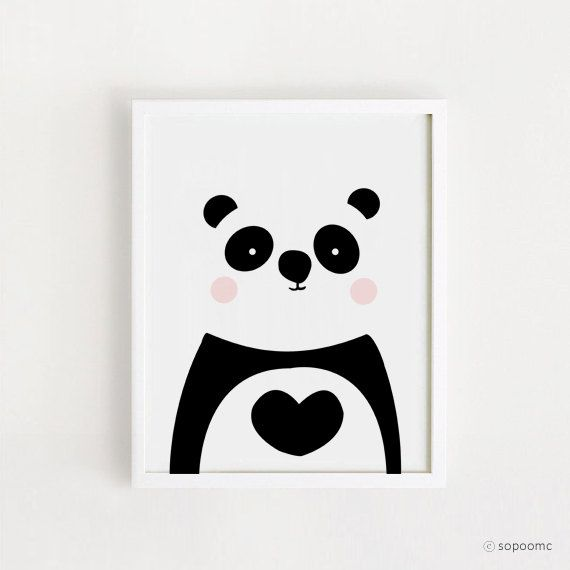 Instant download panda printable wall art cute panda for Panda bear decor