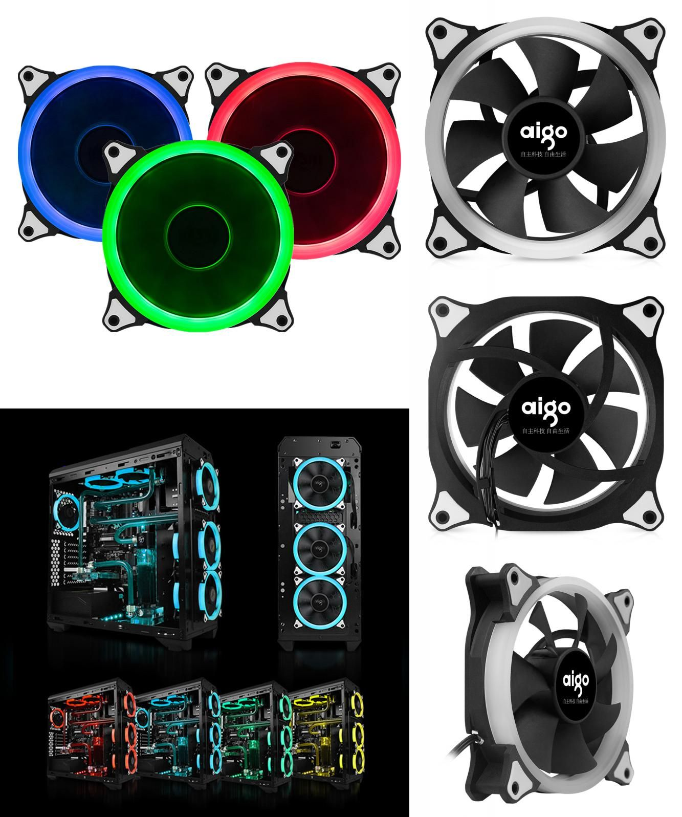 Visit To Buy 3pcs Rgb Case Cooling Fan 120mm With 6pin Controller