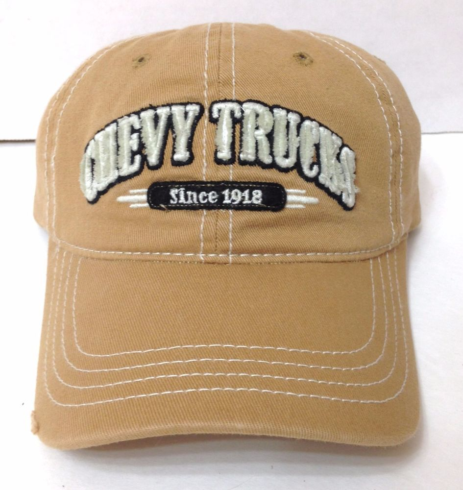 381f177876d CHEVY TRUCKS HAT Light Brown Tan Distressed Relaxed-Fit Dad Chevrolet Men  Women  GeneralMotors  BaseballCap