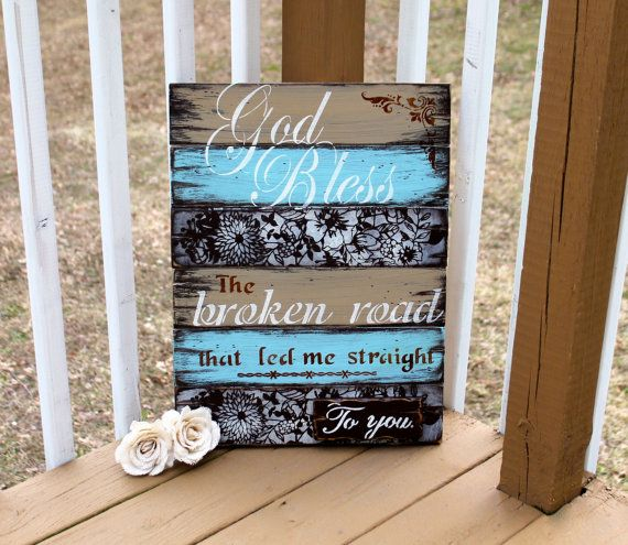 Blessed Cross Rustic Wood Country Family Sign Wall Decor Teal and White