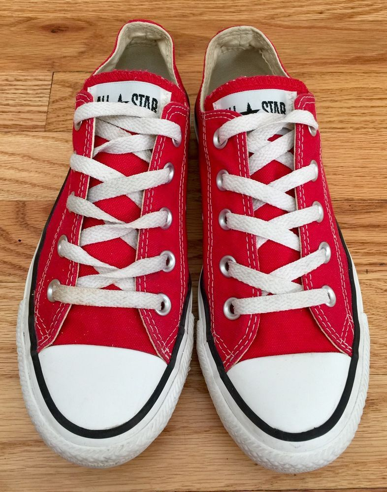 CONVERSE ALL STAR Chuck Taylor Womens SZ 6 Shoes Red Sneakers Mens 4 Low Ox   8cbd798ad