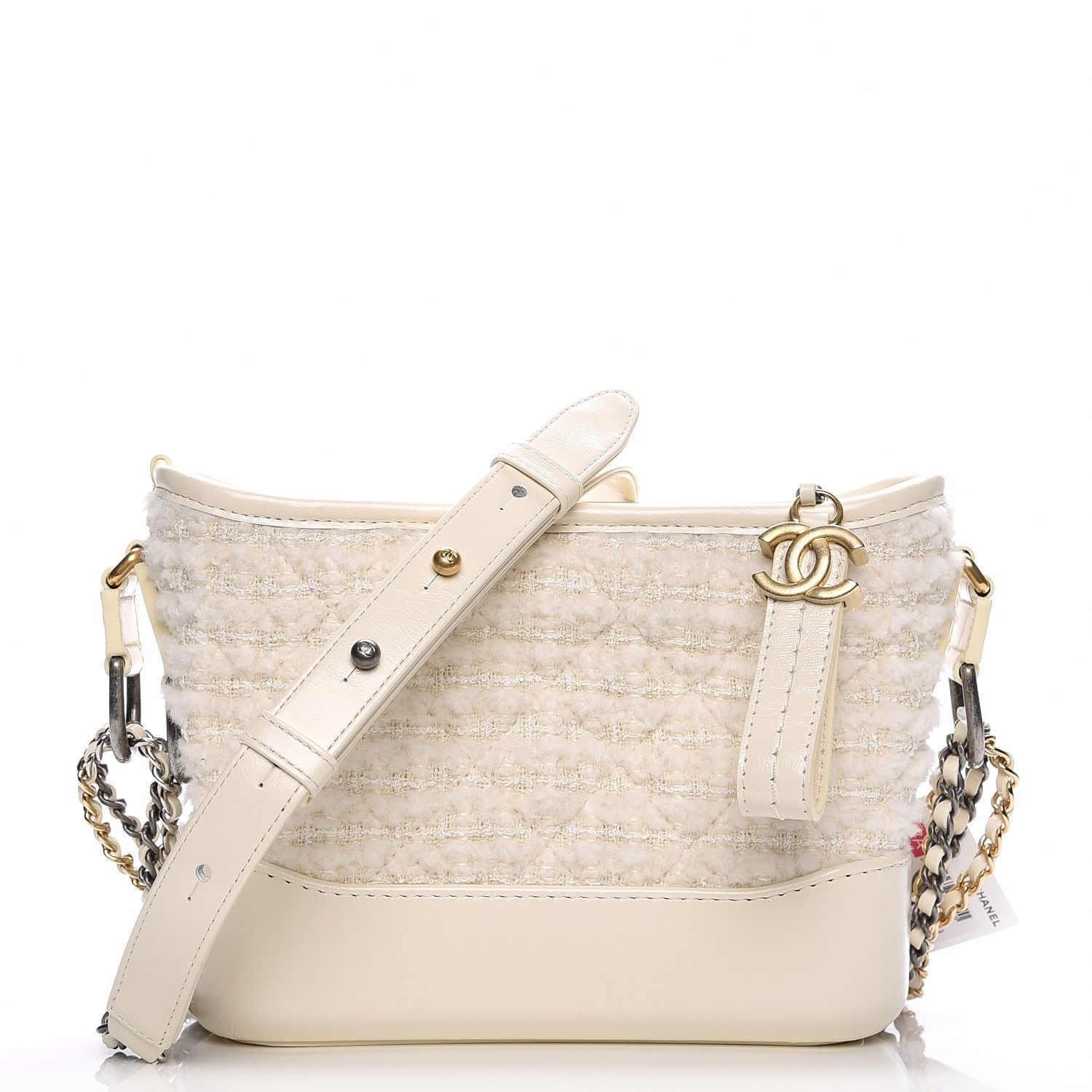 16d24a35ce718a CHANEL Tweed Calfskin Quilted Small Gabrielle Hobo Ivory | Style ...