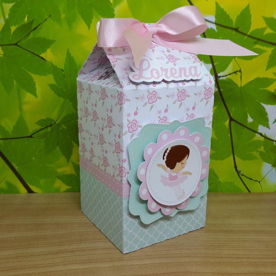 10f68ebdaa Caixa de Lembrancinha tipo Milk personalizado com o tema Bailarina Cute e  com o Nome e