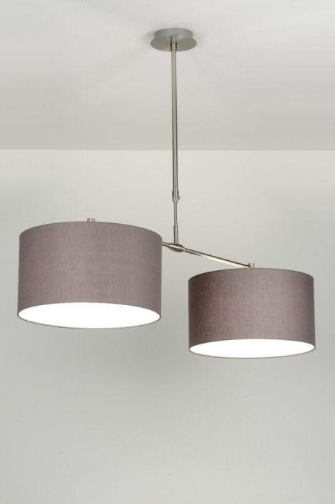 hanglamp 71681 modern rvs stof grijs rond langwerpig inspiratie voor mijn huis in. Black Bedroom Furniture Sets. Home Design Ideas