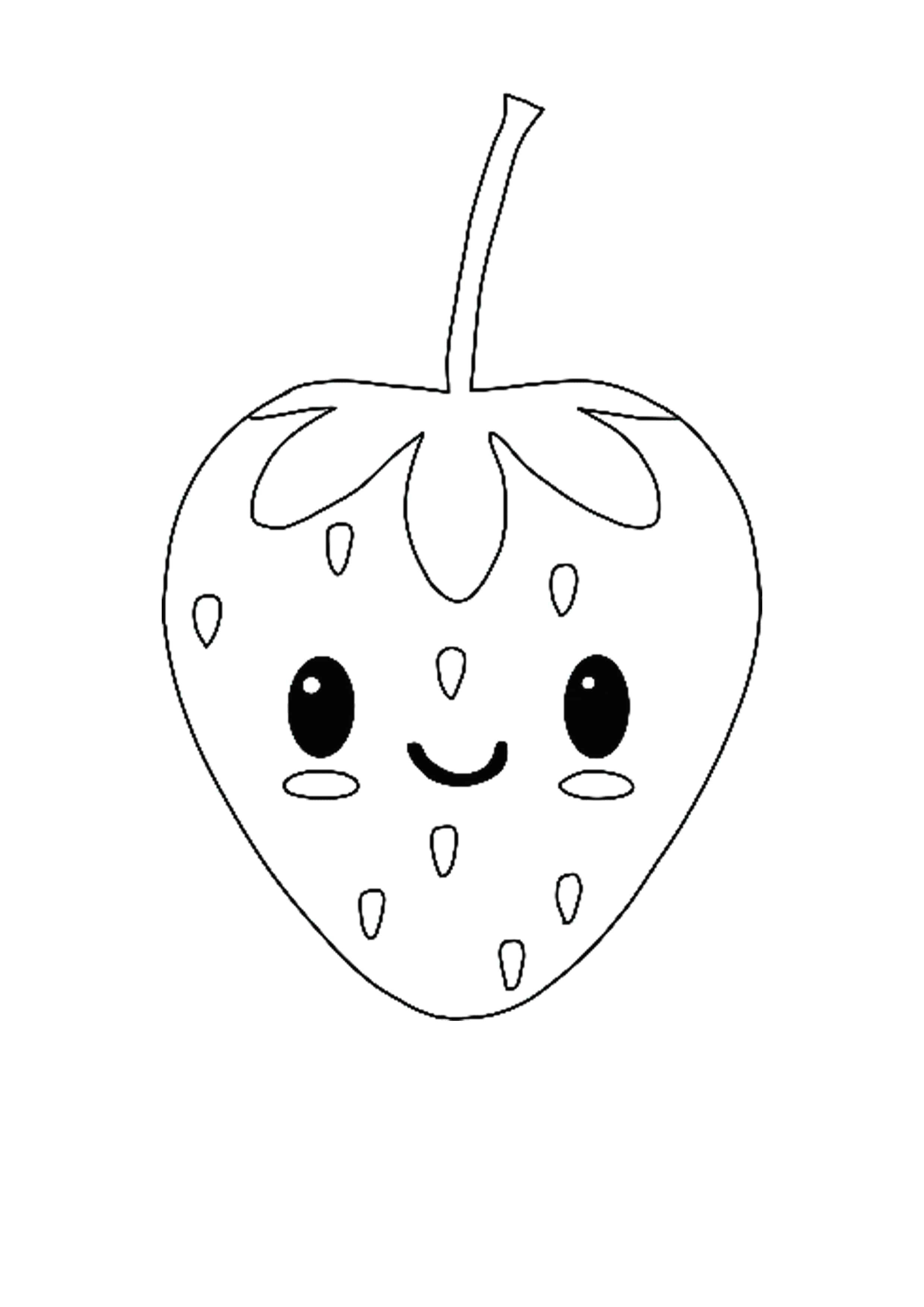 Kawaii Strawberry Coloring Page Kawaii Pineapple Coloring Pages Kawaii Fruit