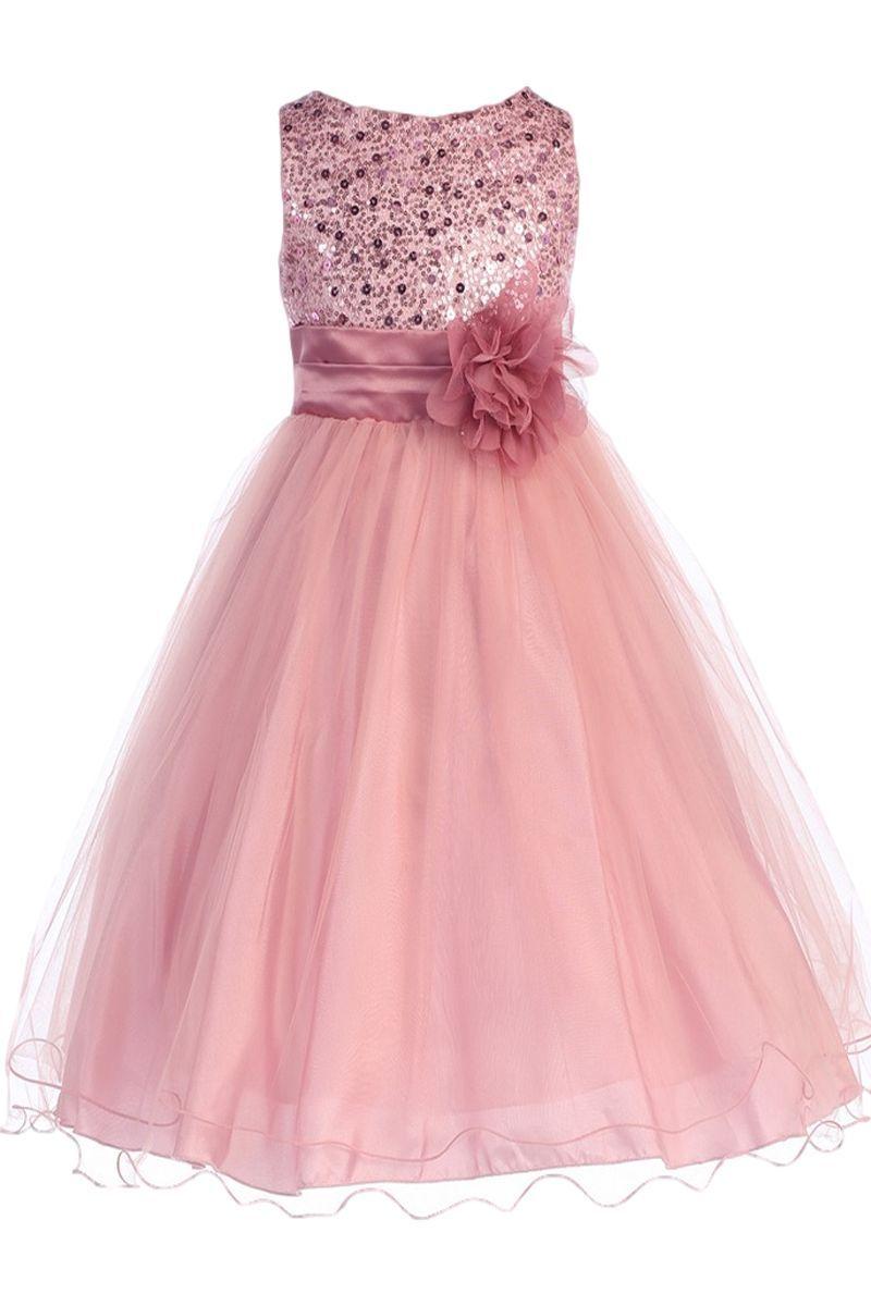 Rose Pink Sequined Bodice Dress with Lettuce Hem Tulle Skirt Girls 2T-14