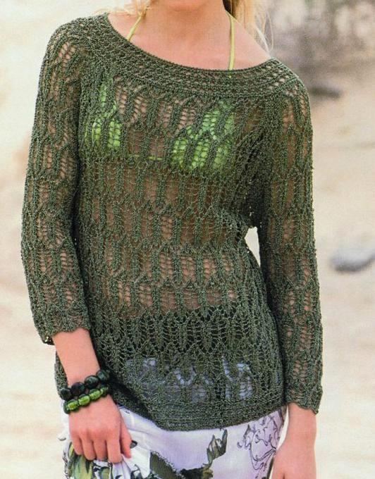 Jersey calado en verde patrón gratis punto dos agujas varias tallas ...