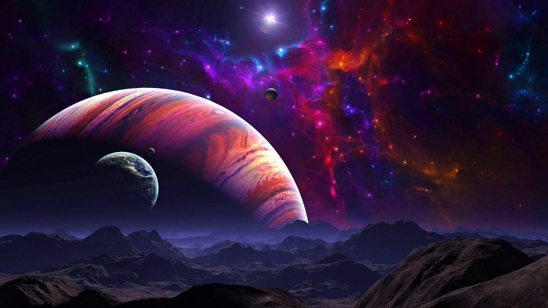 Colorful Planet Galaxy Landscape HD Backgrounds