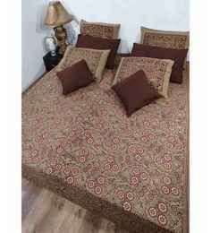 Heritage Fabs Anokhi Wine N Beige Double Bed Cover Set With 2 Pillow Covers