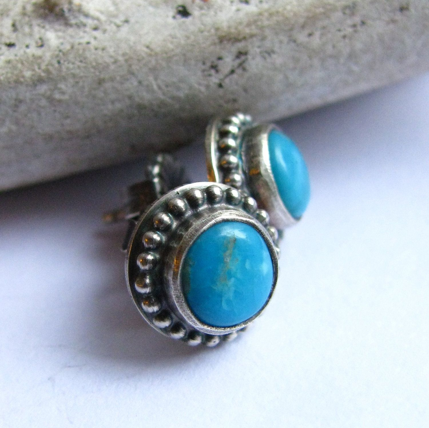 6mm Kingman Turquoise Earrings Stud Sterling Silver And Post Gemstone Jewelry