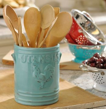 Complete Your Farmhouse Kitchen With Touches Like This Aqua Vintage Rooster  Utensil Holder.