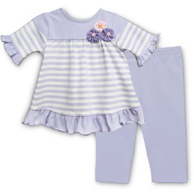 2bbf02411f6 This adorable Pippa   Julie Lavender Striped Short Sleeve Tunic and Legging  Set features a soft top with little ruffles accenting the cuffs of the  sleeves