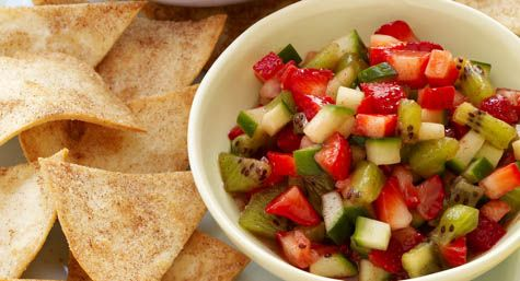 Cool Strawberry Salsa with Cinnamon Tortilla Chips