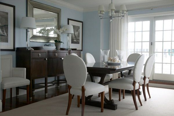 Contemporary Dining Room Furniture Set With White Dining Chairs