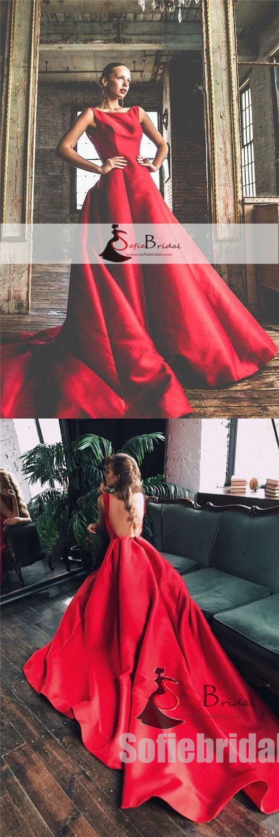 Scoop backless red aline satin prom dresses long train prom