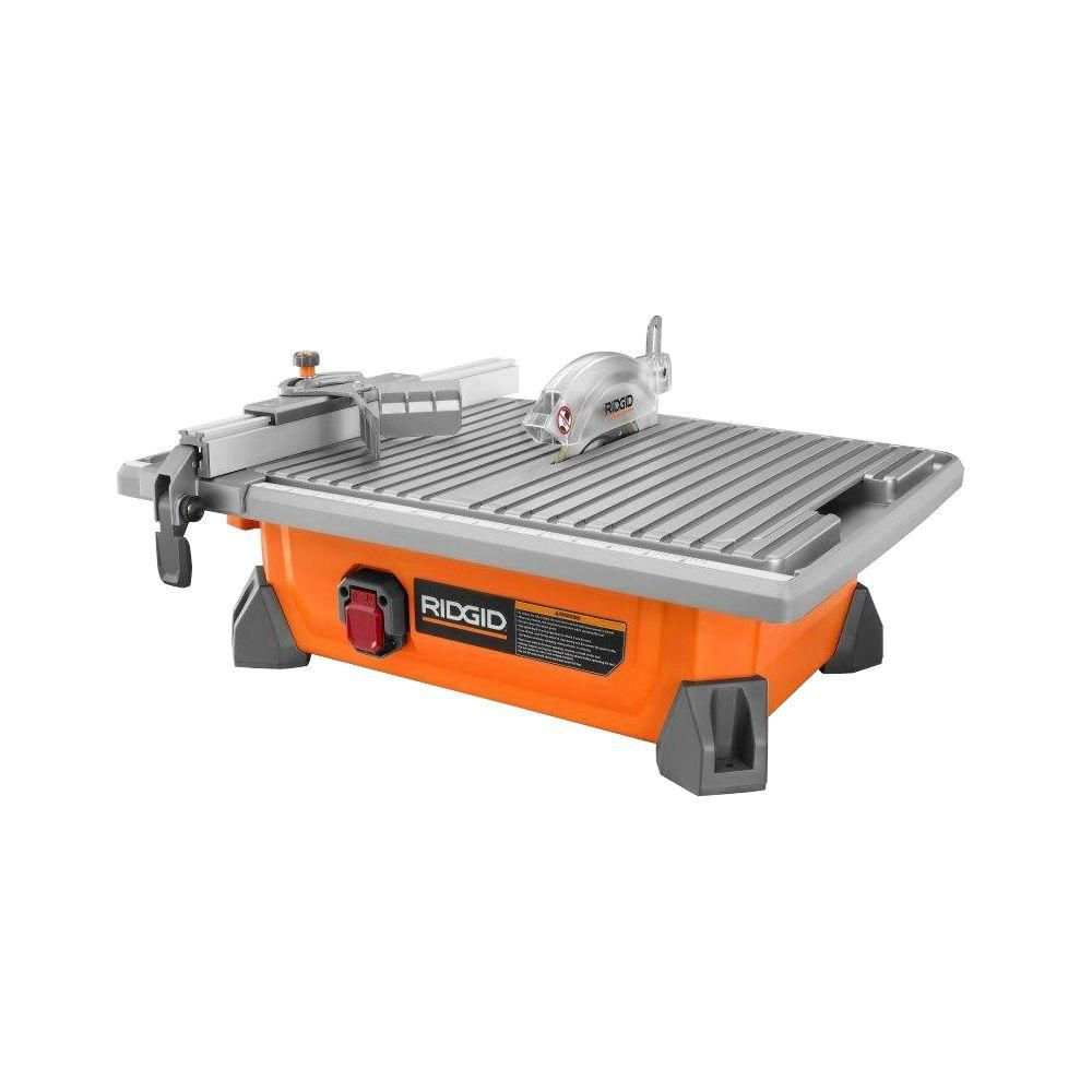 Ridgid 7 In Job Site Wet Tile Saw R4020 The Home Depot Tile Saw Tile Saws Wet
