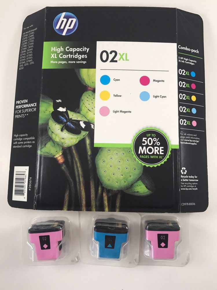 HP High Capacity 02XL Printing Cartridges 5 Pack Sealed New Old Stock + 3 More #HP