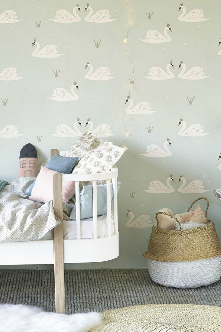 A delightful nursery style motif wallpaper design by Hibou Home with ...