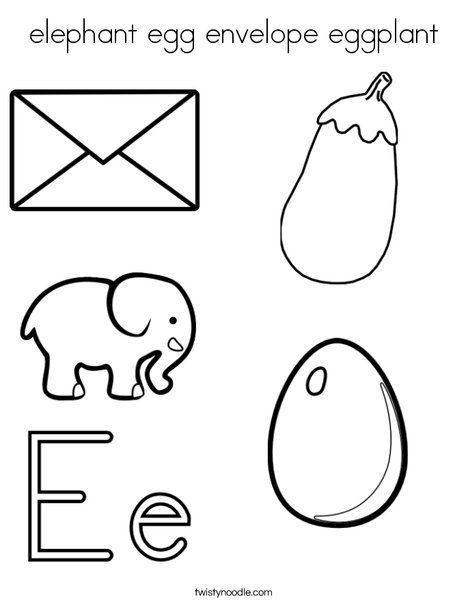 Elephant Egg Envelope Eggplant Coloring Page