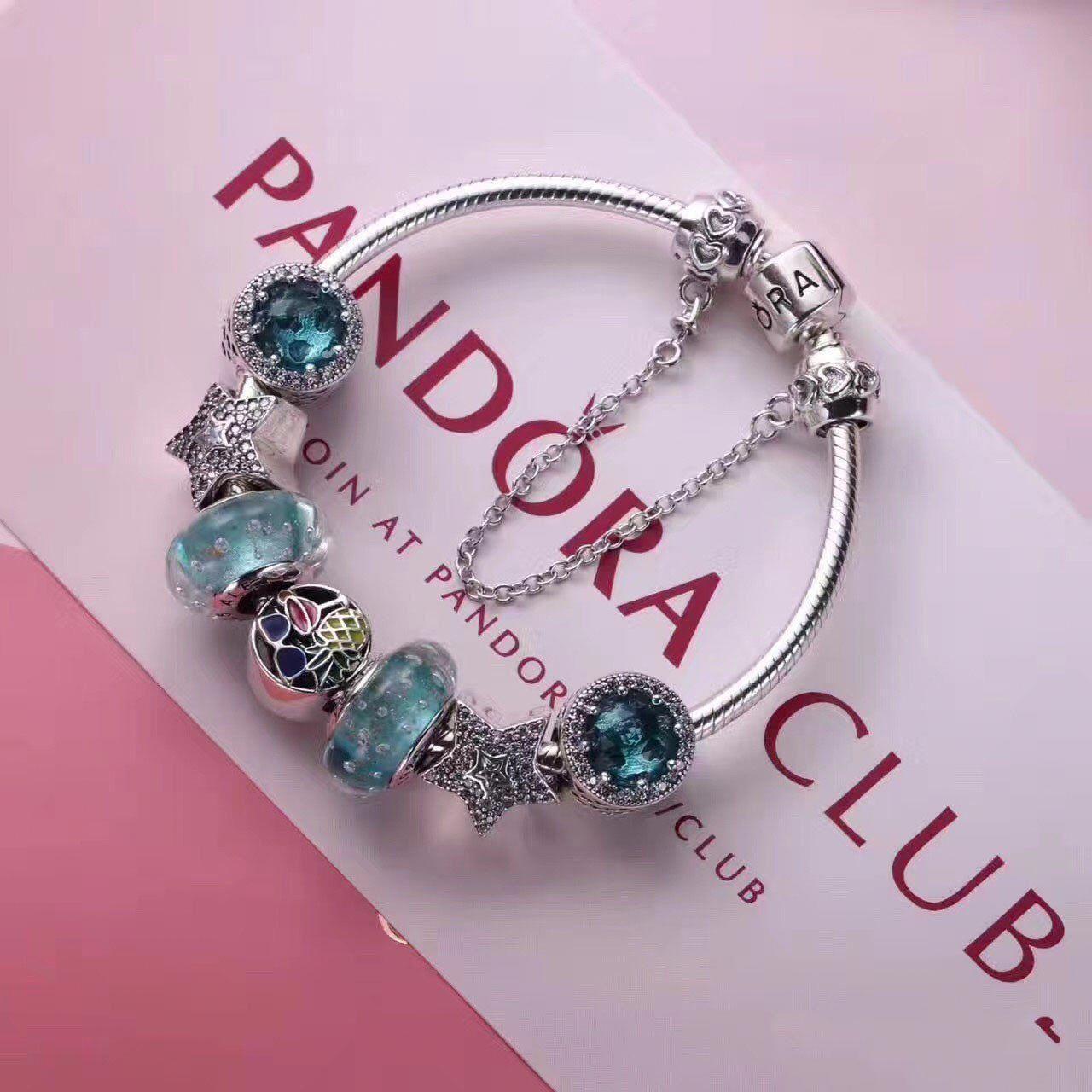 925 sliver Pandora charm bracelet with 7 pcs charms deluxe blue ...