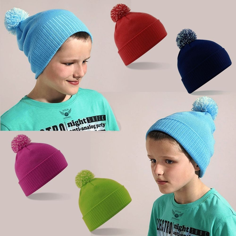 Boys Kids Childrens Thermal Beanie Hat Winter Soft Woolly Warm Sports Ski Hat