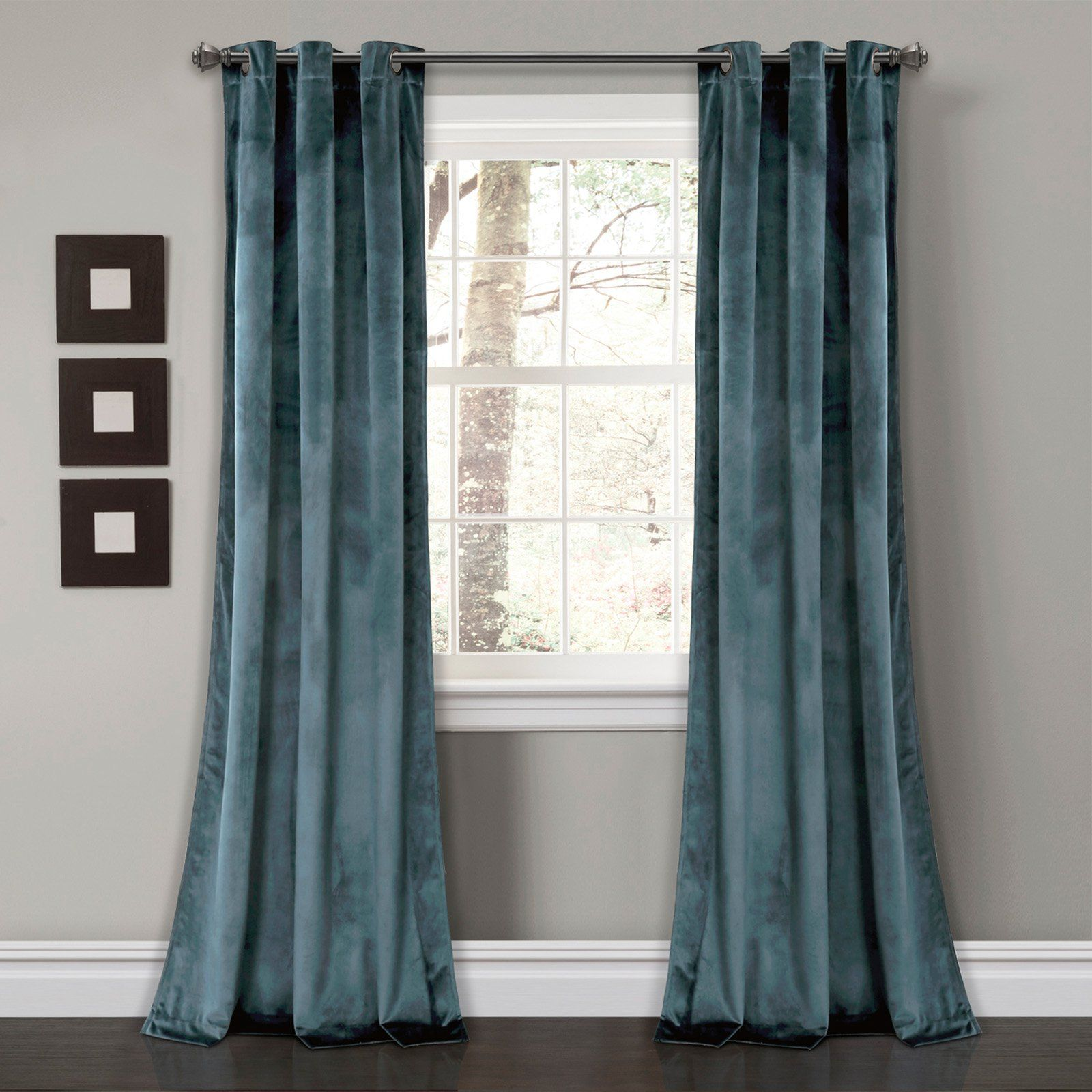 Lush Decor Prima Velvet Solid Room Darkening Window Curtain Slate Blue