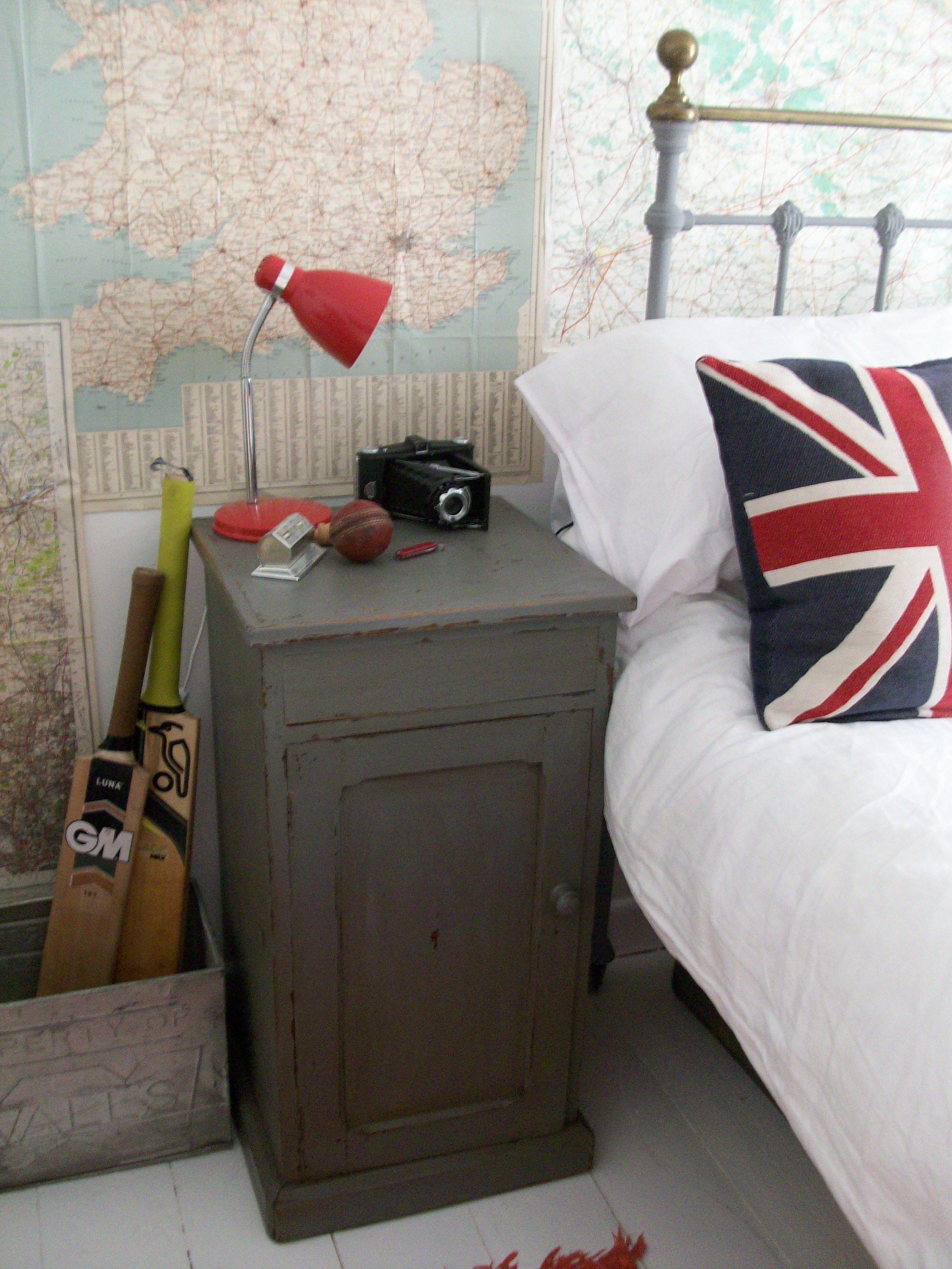 Boy's vintage bed www.lavenderhousevintage.co.uk #vintage#retro#maps#bedroom#home#interiors#lavenderhousevintage