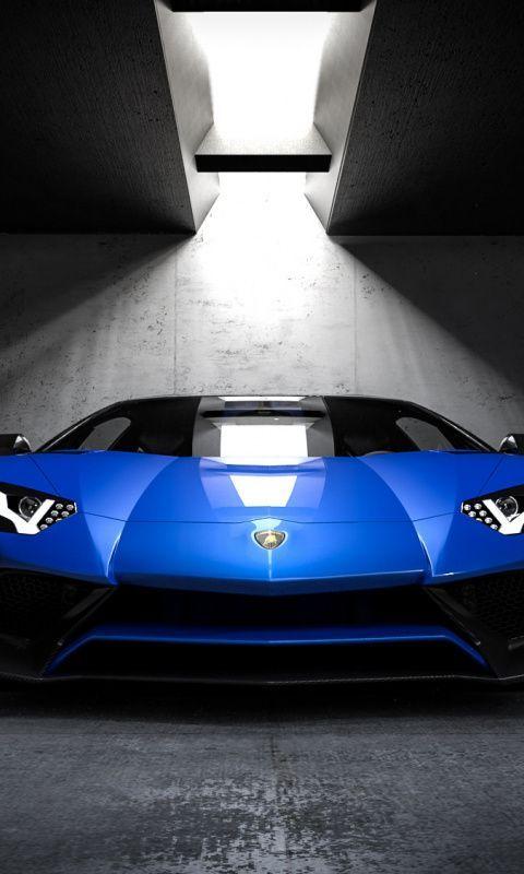 fearsome wallpaper 480800 Blue Lamborghini sports car front wallpaper