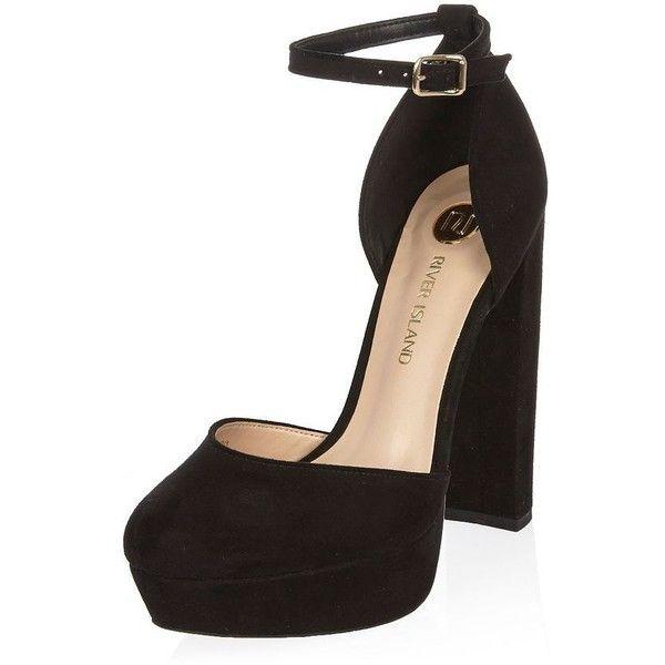 0981455d5e01 River Island Black velvet platform heels ( 110) ❤ liked on Polyvore  featuring shoes