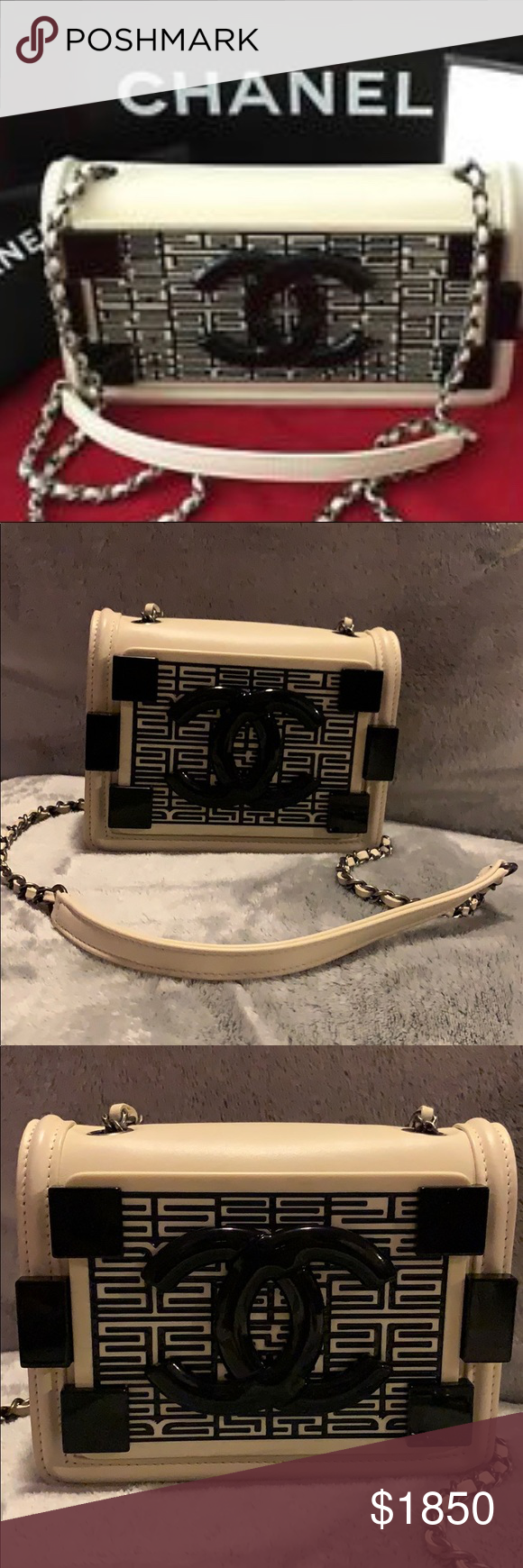 c68bbf9004ac Chanel Boy Brick Flap Bag Dark White ... Boy Brick Chanel Seamless Dark  White Lambskin & Plexiglass Mini. Slight wear on edges but bag looks like  brand new.