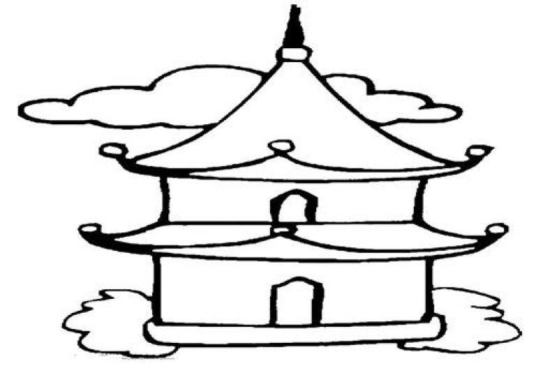Mewarnai Gambar Tempat Ibadah Umat Budha Seni Tempat Ibadah Hello Kitty