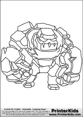 Clash Of Clans Golem Coloring Page Coloring Pages Clash Of Clans