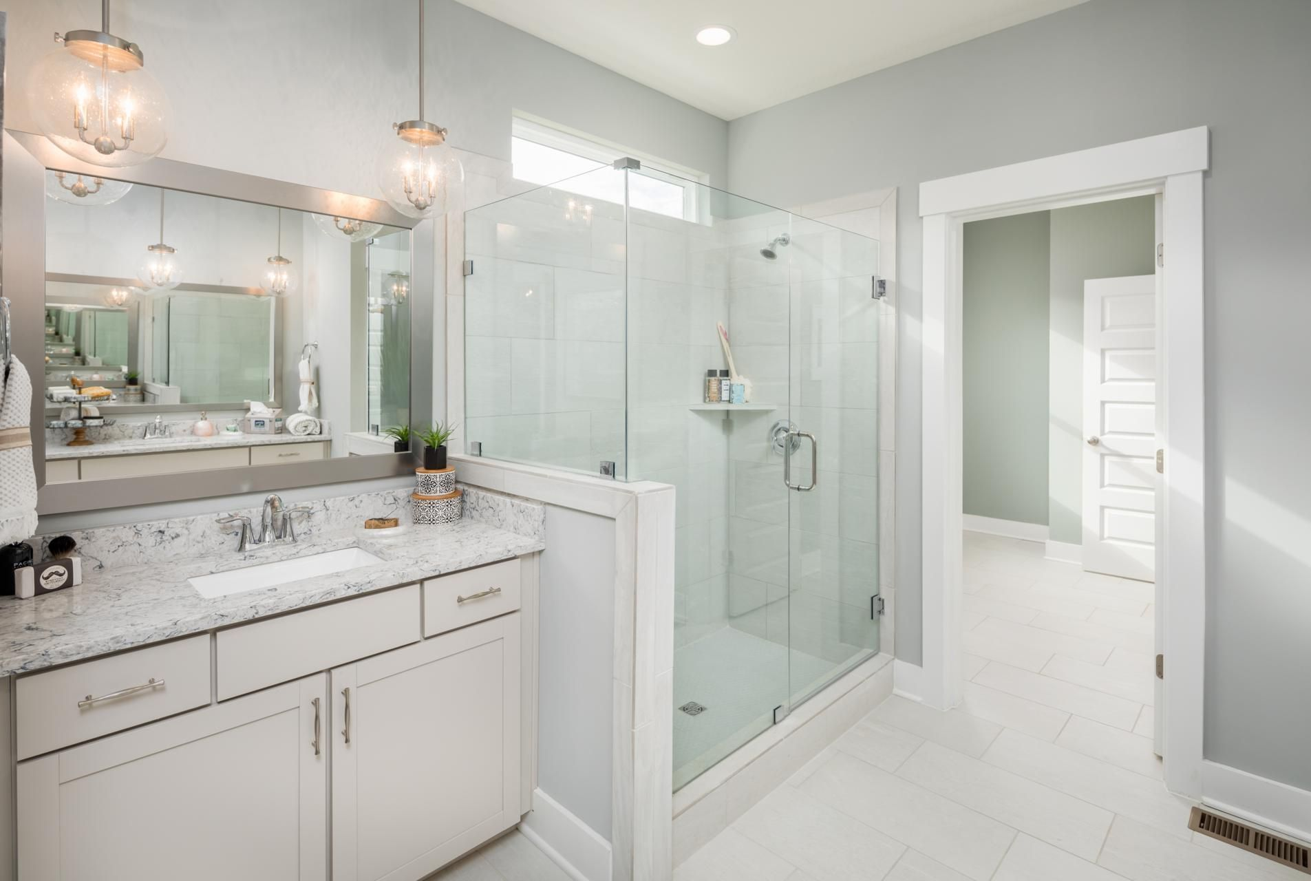 Drees Homes Master Bath With Walk In Shower And Pendant Lighting Bathrooms Remodel Bathroom Home