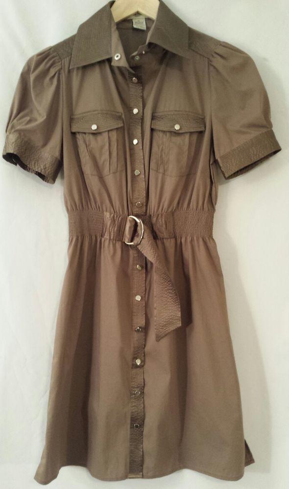 VERTIGO Paris Taupe Brown Cotton Blend Knee-length Dress EUC Size XS #Vertigo #TeaDress