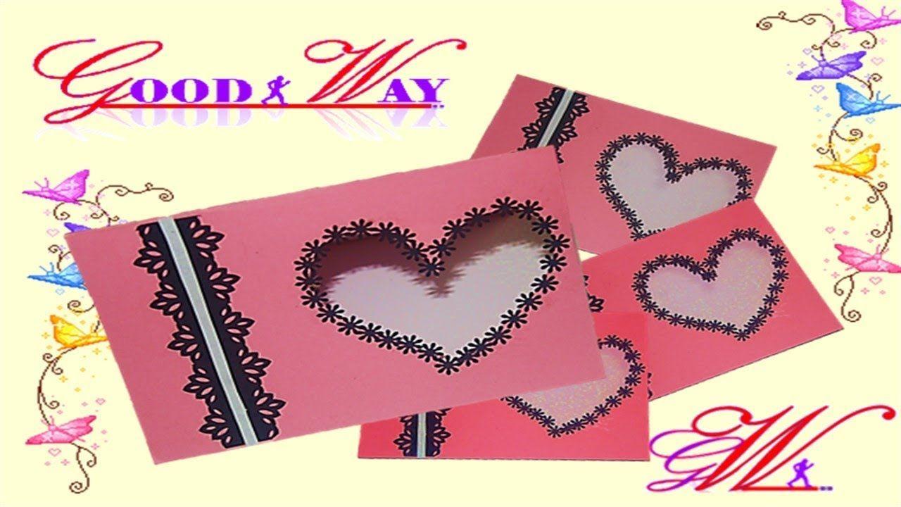 طريقة عمل بطاقة تهنئة أو دعوة على شكل قلب Greeting Card Or Invite A Kids Birthday Cards Hand Art Birthday Cards
