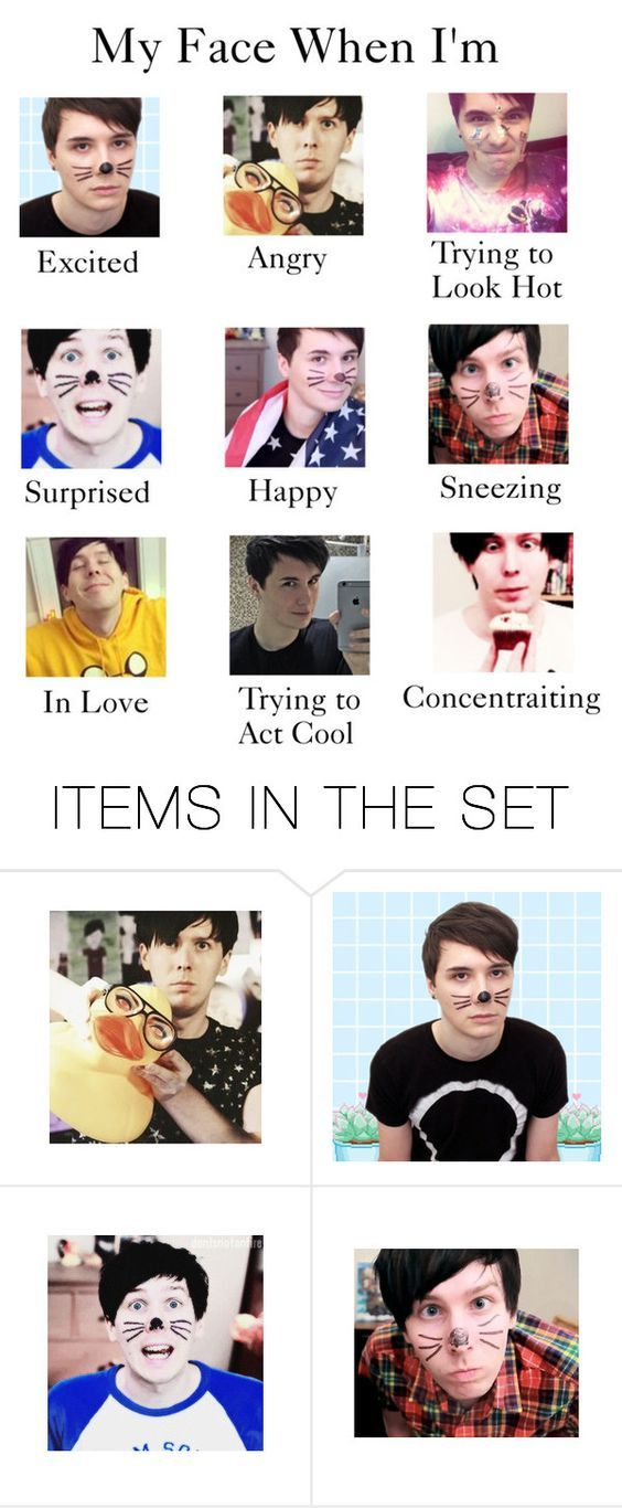 """""""My Face When I'm (Dan and Phil edition)"""" by myfics222 ❤ liked on Polyvore featuring art:"""