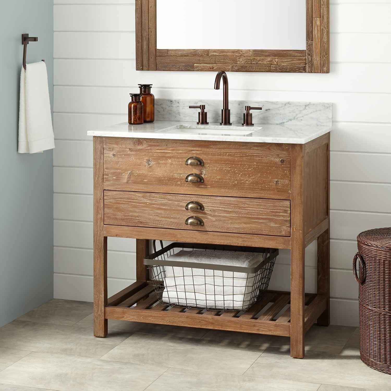 36 Benoist Reclaimed Wood Vanity For Rectangular Undermount Sink Wax Pine Reclaimed Wood Vanity Wood Bathroom Vanity Bathroom Vanity