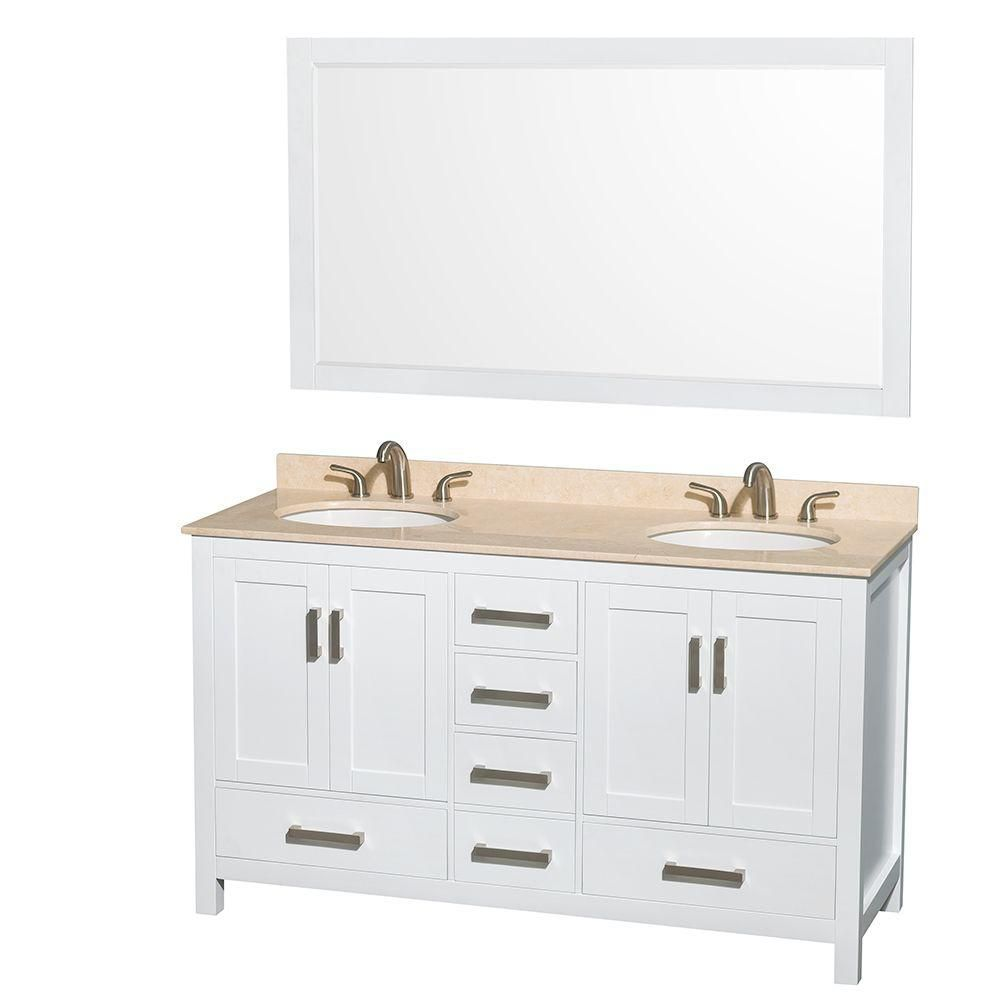 Sheffield 60 Inch W Double Vanity In White With Marble Top In