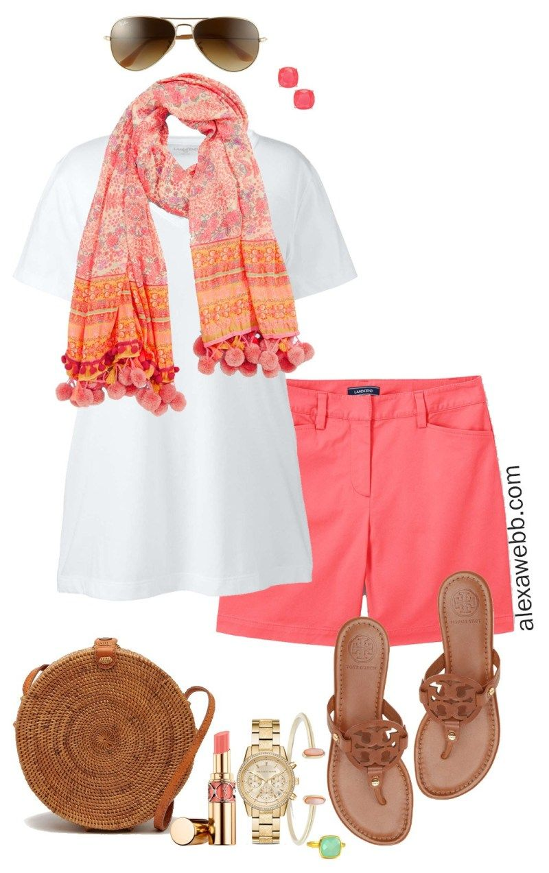 Plus Size Coral Shorts Outfit