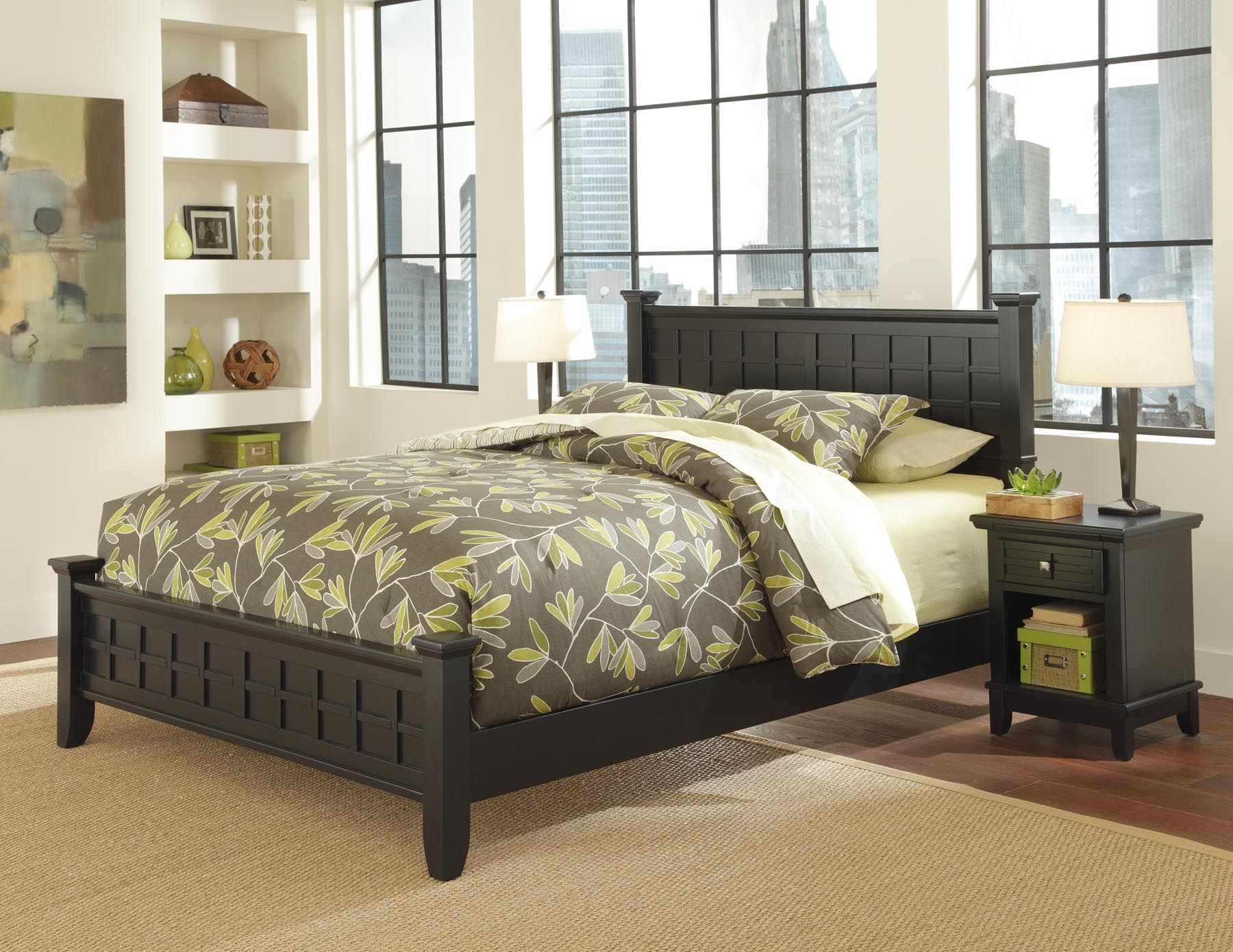 Home Styles Arts Crafts Black Queen Bed Night Stand Home