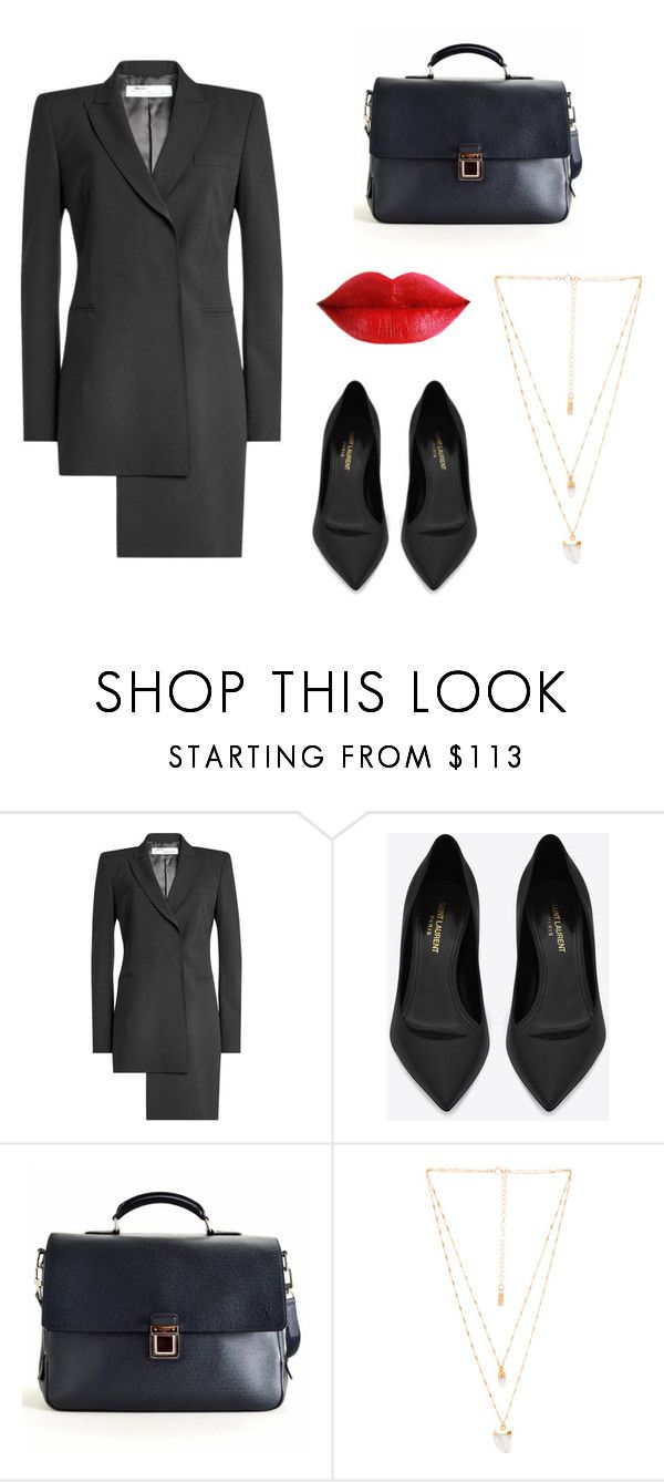"""""""Asymmetrical dress"""" by sassyladies ❤ liked on Polyvore featuring Off-White, Yves Saint Laurent, Louis Vuitton and Natalie B"""